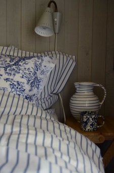 Duvet cover+pillowcaase blue-white stripe