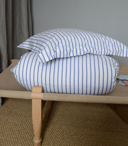 pillowcase cotton blue-white stripe
