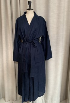 Morning Gown in linen LONG navy