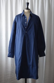 Long shirt in percale blue
