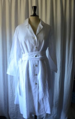 A shaped dress in linen