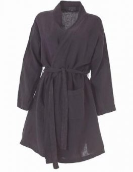 morning gown linen dark grey